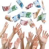 europeisk fallande pengarregnsky Fotografering för Bildbyråer