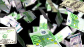 europeisk fallande pengarregnsky Abstrakt loopable bakgrund stock illustrationer