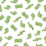 europeisk fallande pengarregnsky Fallande dollarvalörer och att regna kontanta sedlar eller att flyga dollarsedeln Sömlöst rikedo stock illustrationer