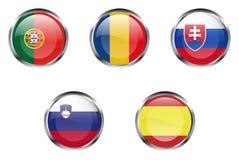 europeisk flaggadel för 5 knappar stock illustrationer