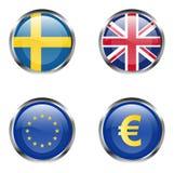 europeisk flaggadel för 6 knappar royaltyfri illustrationer