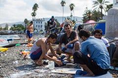 Europeisk flyktingkris - Kris för flykting för Kos ö, Grekland europeisk Royaltyfria Bilder