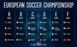 Europeisk fotbollmästerskap design för vektor för 2016 gruppetapper på svart tavla Arkivbilder