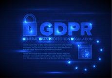 Europeisk illustration för mall för GDPR-begreppsreklamblad Arkivbild