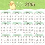 Europeisk kalender 2015 år Fotografering för Bildbyråer