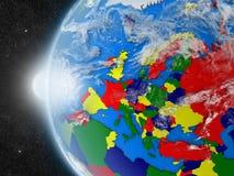 Europeisk kontinent från utrymme royaltyfri illustrationer