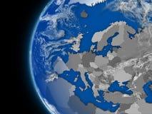 Europeisk kontinent på det politiska jordklotet vektor illustrationer