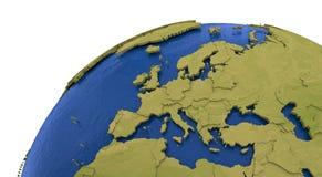Europeisk kontinent på jord royaltyfri illustrationer