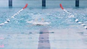 Europeisk manlig simmare som utför fjärilsslaglängden under utbildning för konkurrens i pöl lager videofilmer