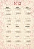 europeisk rosa vektor för 2012 kalender Royaltyfria Bilder