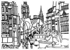 Europeisk stad London, huvudstad av England Arkivfoto