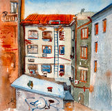 Europeisk stad med gamla hus Arkivbild