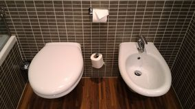 Europeisk toalett: unik stil av toaletten med bidén Royaltyfri Foto
