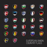 Europeisk union påstår fulla flaggor Vektorlandssköldar Arkivbild