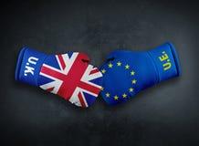 Europeisk union vs Förenade kungariket konfliktconpet royaltyfri fotografi