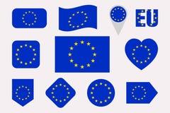 Europeisk uppsättning för fackliga flaggor Lägenhet isolerade symboler eu sjunker samlingen Rengöringsduk ekonomiska politiska si Royaltyfri Illustrationer