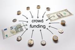 Europeiska amerikanska pengar för folkmassafinansiering Arkivfoto