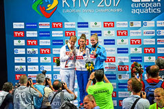 Europeiska dykningmästerskap 2017 vinnare, Kiev, Ukraina, Fotografering för Bildbyråer
