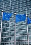 Europeiska fackliga flaggor Arkivfoto