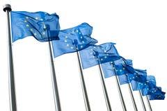 Europeiska fackliga flaggor som isoleras på vit Royaltyfria Bilder