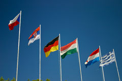 europeiska flaggor Arkivbild