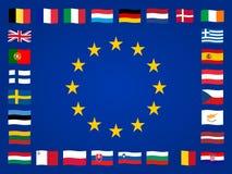 Europeiska flaggor Royaltyfri Foto