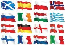 europeiska flaggor stock illustrationer