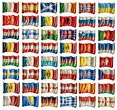 europeiska flaggor Royaltyfria Bilder