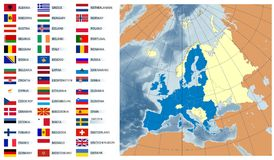 europeiska flaggor planerar union Royaltyfria Bilder