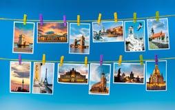 Europeiska gränsmärken, collage Arkivbild