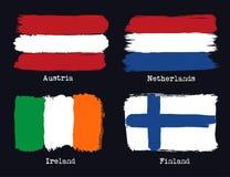 Europeiska grungeflaggor Flaggor av Österrike, Netherland, Finland och royaltyfri illustrationer