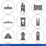 Europeiska huvudstäder - symbolsuppsättning (del 4) Royaltyfri Bild