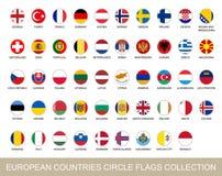 Europeiska länder cirklar flaggasamlingen också vektor för coreldrawillustration stock illustrationer