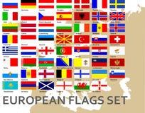 Europeiska länder för flaggor allra Royaltyfri Bild
