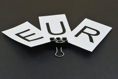 Europeiska sedlar med ` för tecken` EUR, Arkivfoton