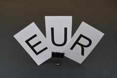 Europeiska sedlar med ` för tecken` EUR, Arkivbild