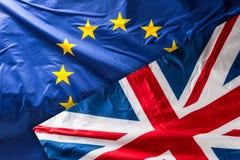 Europeiska union sjunker EU sjunker att blåsa i vinden Arkivbild