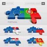 Europeiska union sjunker vektor för pussel 3d Uppsättning 08 Royaltyfri Foto