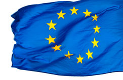 Europeiska unionflagga i winden på white Royaltyfria Bilder