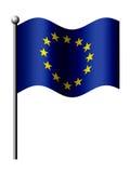 Europeiska unionflagga som isoleras över white Arkivfoton