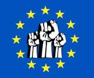 Europeiska unionnäve, flagga, protest. Royaltyfri Bild