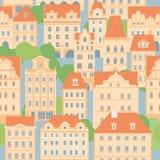 europeiskt gammalt för stad Dekorativa beigea hus med belade med tegel tak seamless modell vektor illustrationer