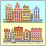 Europeiskt gatalandskap stock illustrationer