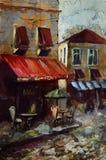 Europeiskt kafé, grafisk teckning i färg stock illustrationer