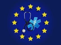 europeiskt medicinskt diagram för flaggaillustrationdesign vektor illustrationer