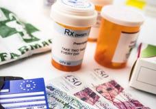 Europeiskt sjukförsäkringkort tillsammans med flera kapslar, begrepp av medicinsk förhöjning i krisen av brexiten fotografering för bildbyråer