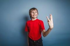 Europeiskt utseende för pojketonåring i en röd skjorta Royaltyfria Foton
