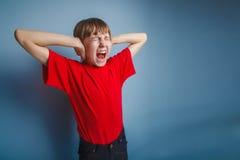 Europeiskt utseende för pojketonåring i en röd skjorta royaltyfri foto