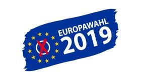 Europeiskt val 2019 - tysk översättning: Europawahl 2019 - vektorillustration vektor illustrationer