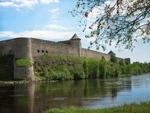 europejczycy Fotografia stary forteca na jabłoni, rzeka i jesteśmy na przedpolu Niebieskie niebo z clou zdjęcia stock